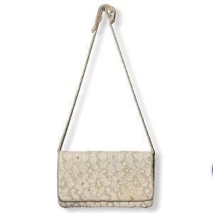 Vintage Vanessa Beaded Lace Long Strap Purse